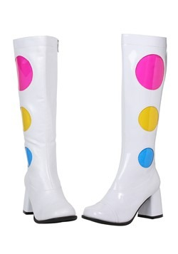 Women's White Polka Dot Gogo Boots