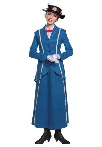 Mary Poppins Womens Mary Poppins Blue Coat Costume