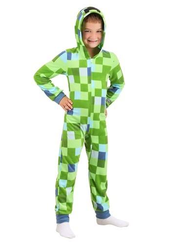 Minecraft Boys Hooded Union Suit
