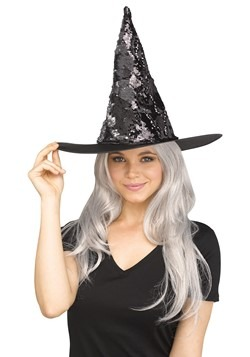 Flip Sequin Witch Hat Silver