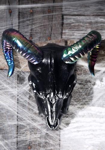 """11"""" Oil Slick Black Ram Skull"""