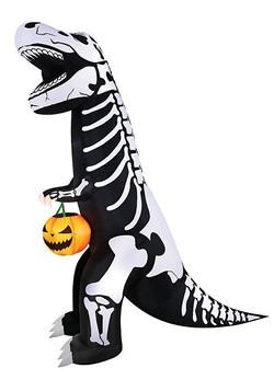 Inflatable Skeleton T-Rex with Pumpkin