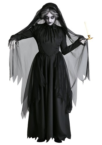 Plus Size Lady in Black Ghost Costume1