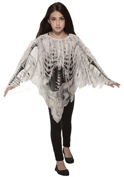 Girl's Tattered Skeleton Poncho Costume