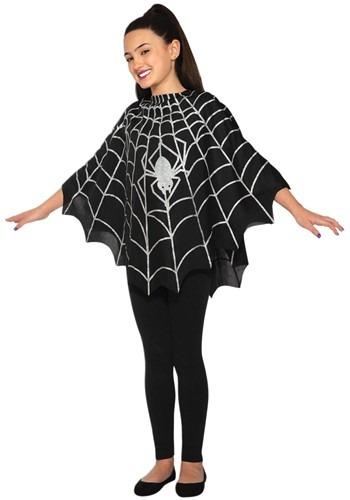 Kid's Black Spider Poncho Costume