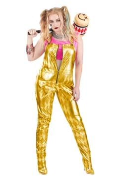 Women's Plus Size Harley Quinn Gold Overalls Costume