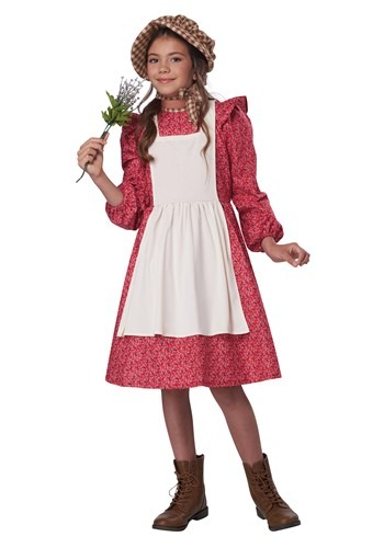 Girl's Red Frontier Settler Costume