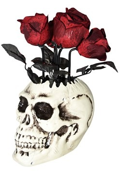 Animated Skull Vase W/Roses Decoration