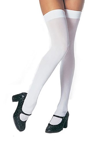 Plus Size Thigh High White Stockings