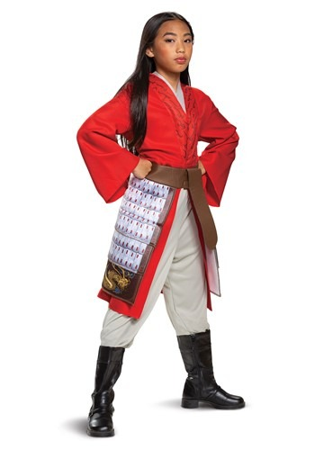 Mulan Girl's Deluxe Hero Red Costume