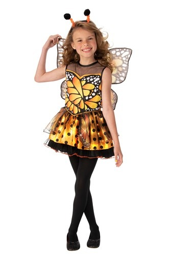 Girl's Orange Monarch Butterfly Costume