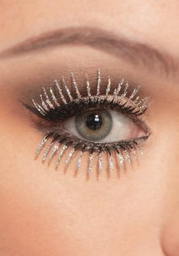 Silver Glitter Eyelashes Top and Bottom Set