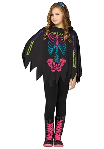 Girl's Rainbow Skeleton Poncho