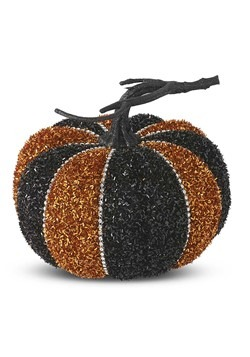 "6"" Black & Orange Tinsel Pumpkin"
