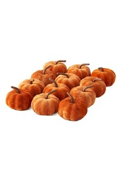 12 2in Orange Velvet Pumpkins Set