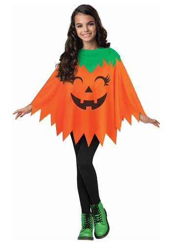 Child Pumpkin Poncho