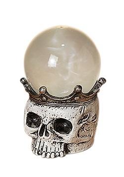 "7.5""H Lighted Spinning Smoky Water Globe Skull"
