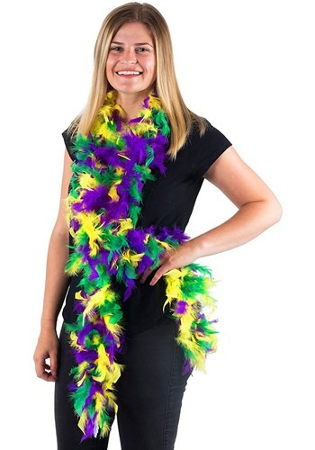 Mixed Colors Mardi Gras 50 Gram 6 Ft Feather Boa