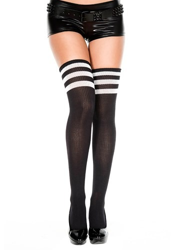 Athletic Thigh High Stockings Black/White