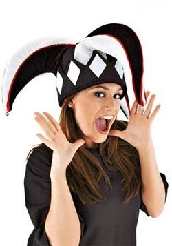 Court Jester Plush Hat Black & White