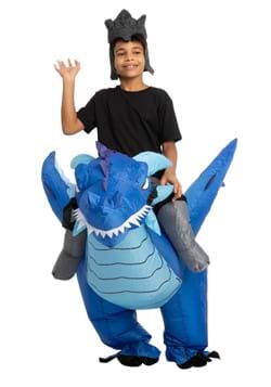 Inflatable Kids Blue Dragon Ride On Costume