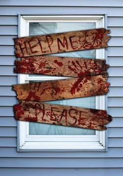 Haunted Bloody Wooden Window Boards With Words