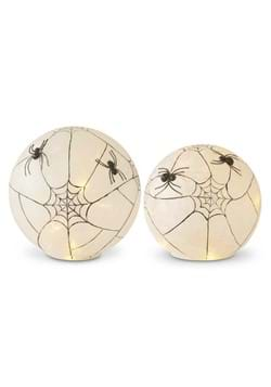 Set of 2 Frosted Glass LED Spider Web Globes w/Timer