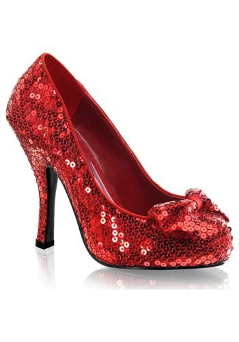 Red Sequin High Heels